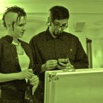 Danielle and David checking detection sensors