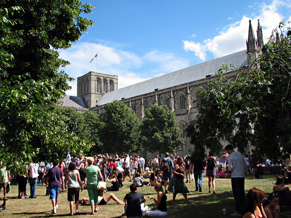 The Cathedral grounds busy with people