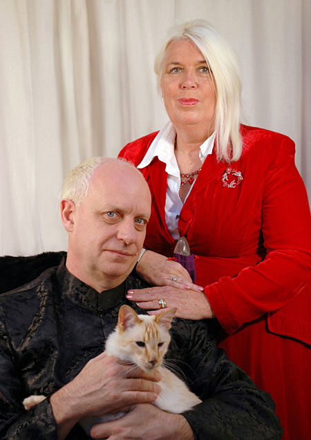 Craig and Jane Hamilton-Parker with Yang the cat